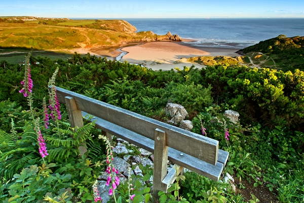 Seat overlooking Three Cliffs Bay on Gower