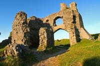 Ruined Pennard Castle above Pennard Pill, Gower