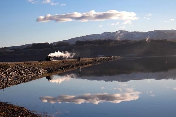 Porthmadog Cob and railway, Gwynedd