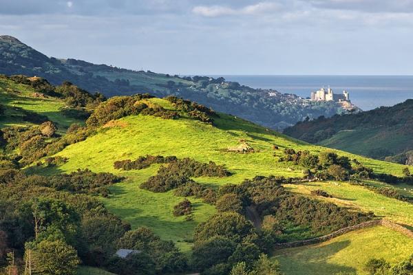 Distant view of Harlech Castle, Gwynedd