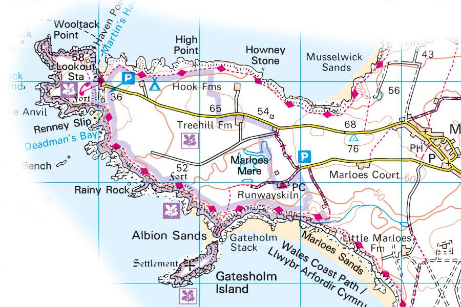 Marloes peninsula, Pembrokeshire - OS Explorer map