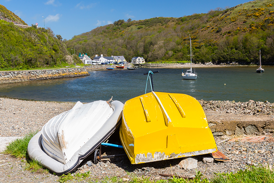 Solva harbour boats, Pembrokeshire Coast Path