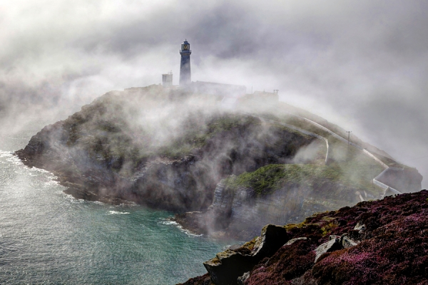 South Stack lighthouse, Anglesey, in a fog bank
