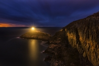 South Stack lighthouse, Holyhead Mountain, Anglesey, at night