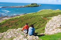 Worm's Head walkers, on the Gower peninsula